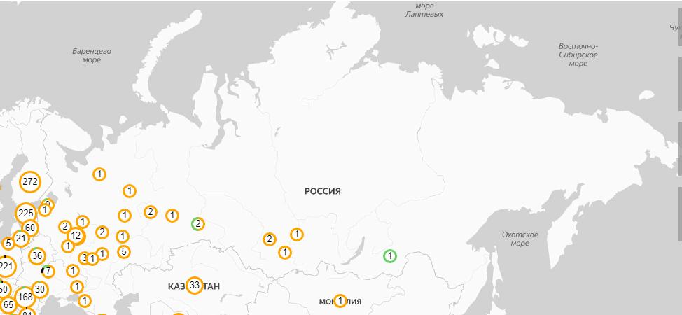 Распространенность коронавируса по России (карта)